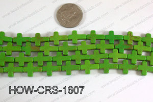 Howlite Cross Green 12x16mm HOW-CRS-1607