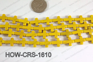 Howlite Cross Yellow 12x16mm HOW-CRS-1610
