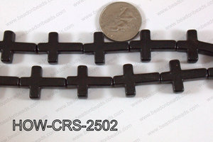 Howlite Cross Black 25x18mm HOW-CRS-2502