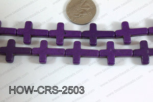 Howlite Cross  Purple 25x18mm HOW-CRS-2503