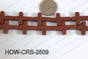 Howlite Cross Brown 25x18mm HOW-CRS-2509