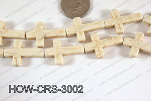 Howlite Cross White 30x20mm HOW-CRS-3002