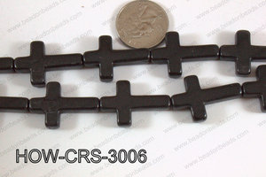 Howlite Cross Black 30x20mm HOW-CRS-3006