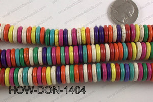 howlite donut shaped multicolor 14mm HOW-DON-1404