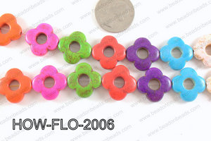 howlite flower multicolor 20mm HOW-FLO-2006