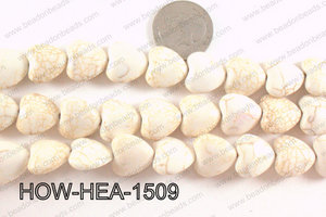 Howlite Heart White 15x15mm HOW-HEA-1509