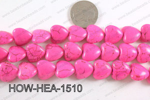 Howlite Heart Hot Pink 16mm HOW-HEA-1510
