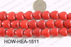 Howlite Heart Red 15x15mm HOW-HEA-1511