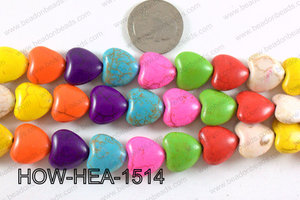 Howlite Heart Multicolor 15x15mm HOW-HEA-1514