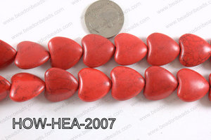 Howlite Heart Red 20x20mm HOW-HEA-2007
