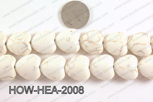 Howlite Heart White 20x20mm HOW-HEA-2008