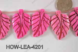 Howlite Leaf 42x27mm HOW-LEA-4201