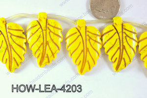 Howlite Leaf 42x27mm HOW-LEA-4203