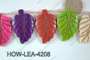 Howlite Leaf 42x27mm HOW-LEA-4208