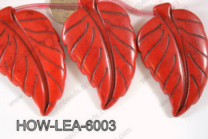 Howlite Leaf 60x40mm HOW-LEA-6003