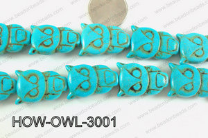 Howlite Owl Turquoise 30x20mm HOW-OWL-3001