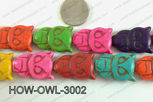 Howlite Owl Multicolor 30x20mm HOW-OWL-3002