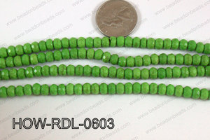 Howlite Rondelle Faceted Green 06mm HOW-RDL-0603