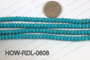 Howlite Rondelle Faceted Turquoise 06mm HOW-RDL-0608