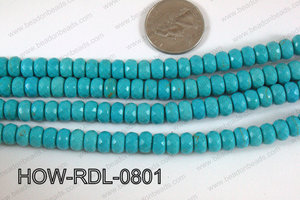 Howlite Rondelle Faceted Turquoise 08mm HOW-RDL-0801