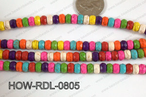 Howlite Rondelle Faceted Multicolor 08mm HOW-RDL-0805