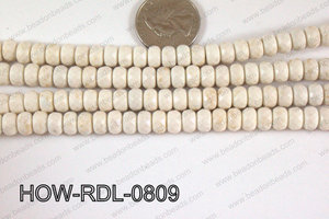 Howlite Rondelle Faceted White 08mm HOW-RDL-0809