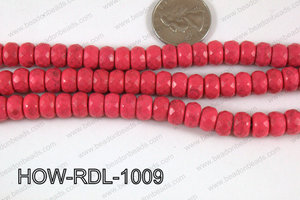 Howlite Rondelle Faceted Hot Pink 10mm HOW-RDL-1009