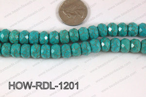 Howlite Rondelle Faceted Turquoise 12mm HOW-RDL-1201