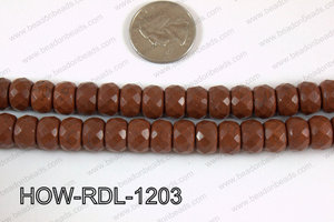 Howlite Rondelle Faceted Brown 12mm HOW-RDL-1203