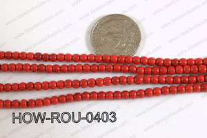 Howlite Round Red 4mm HOW-ROU-0403