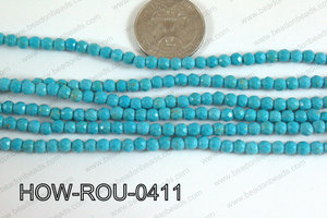 Howlite Round Faceted Turquoise 4mm HOW-ROU-0411