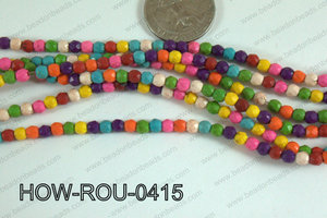Howlite Round Faceted Multicolor 4mm HOW-ROU-0415