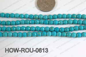 Howlite Round Faceted 96 cut Turquoise 6mm HOW-ROU-0613