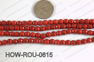 Howlite Round Faceted 96 cut Red 6mm HOW-ROU-0615