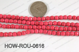 Howlite Round Faceted 96 cut Pink 6mm HOW-ROU-0616