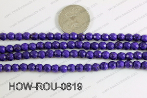 Howlite Round Faceted 32 cut Purple 6mm HOW-ROU-0619