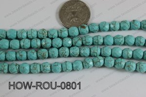 Howlite Round Faceted 32 cut Turquoise 8mm HOW-ROU-0801