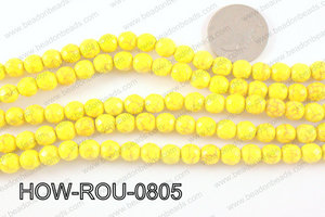 howlite round facted 48 cut yellow 8mm HOW-ROU-0805