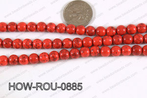 Howlite Round Red 8mm HOW-ROU-0885