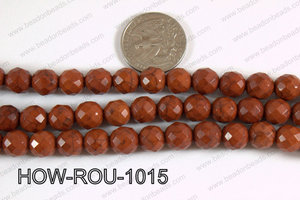 Howlite Round Faceted 32 cut Brown 10mm HOW-ROU-1015