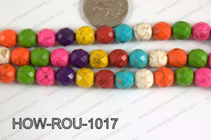 Howlite Round Faceted 32 cut Multicolor 10mm HOW-ROU-1017