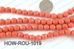 howlite round facted 32 cut orange 10mm HOW-ROU-1019