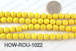 howlite round facted 48 cut yellow 10mm HOW-ROU-1022