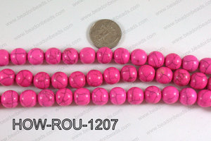 Howlite Round Hot Pink 12mm HOW-ROU-1207