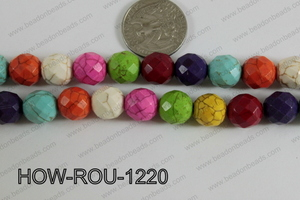 Howlite Round Faceted 32 Cut Multicolor 12mm HOW-ROU-1220