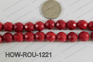 Howlite Round Faceted 32 Cut Red 12mm HOW-ROU-1221