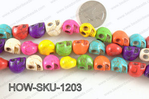 howlite skull multicolor 10x12mm HOW-SKU-1203