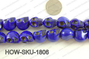 howlite skull dark blue 14x18mm HOW-SKU-1806