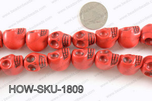 howlite skull red 14x18mm HOW-SKU-1809