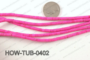 howlite tube hot pink 4x4mm HOW-TUB-0402